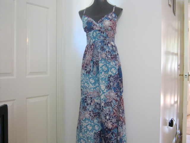 maxi dress floral blue cotton